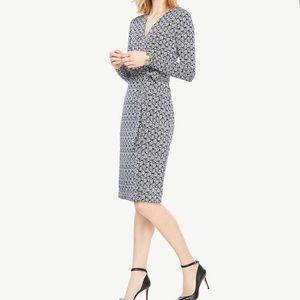 Ann Taylor blue and white wrap dress